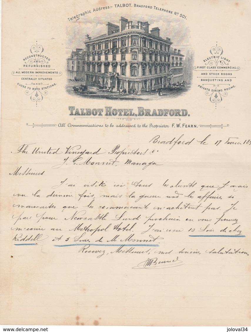 Royaume Uni Facture Lettre Illustrée 17/2/1899 TALBOT Hotel BRADFORD - Royaume-Uni