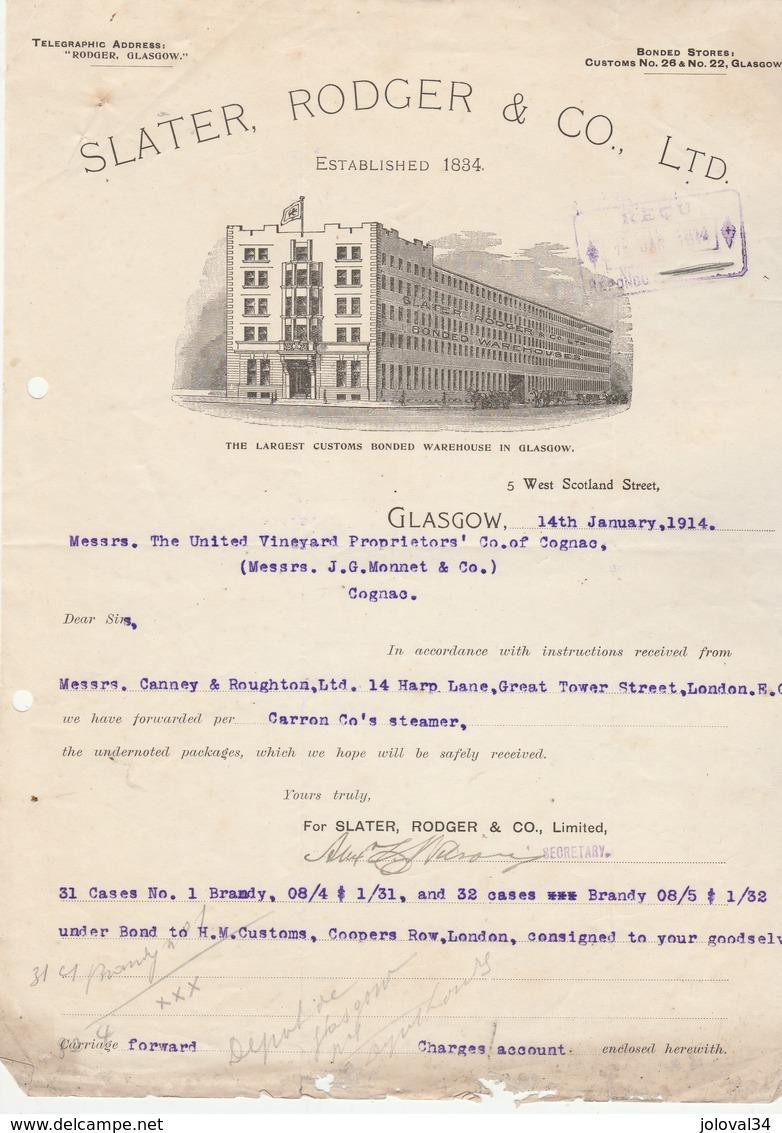 Royaume Uni Facture Lettre Illustrée 14/1/1914 SLATER RODGER The Largest Customs Bonded Warehouse In GLASGOW - Royaume-Uni