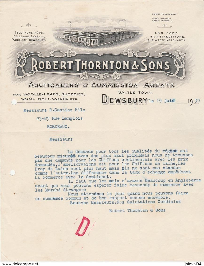 Royaume Uni Facture Lettre Illustrée 19/6/1933 ROBERT THORNTON & Sons Auctioneers & Commission Agents DEWSBURY - Royaume-Uni