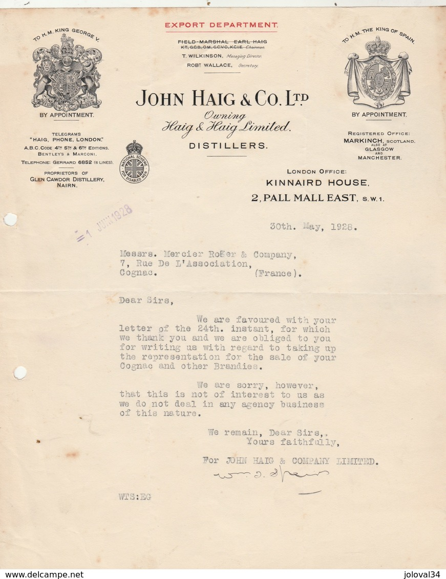 Royaume Uni Facture Lettre Illustrée 30/5/1928 JOHN HAIG Distillers LONDON - Royaume-Uni