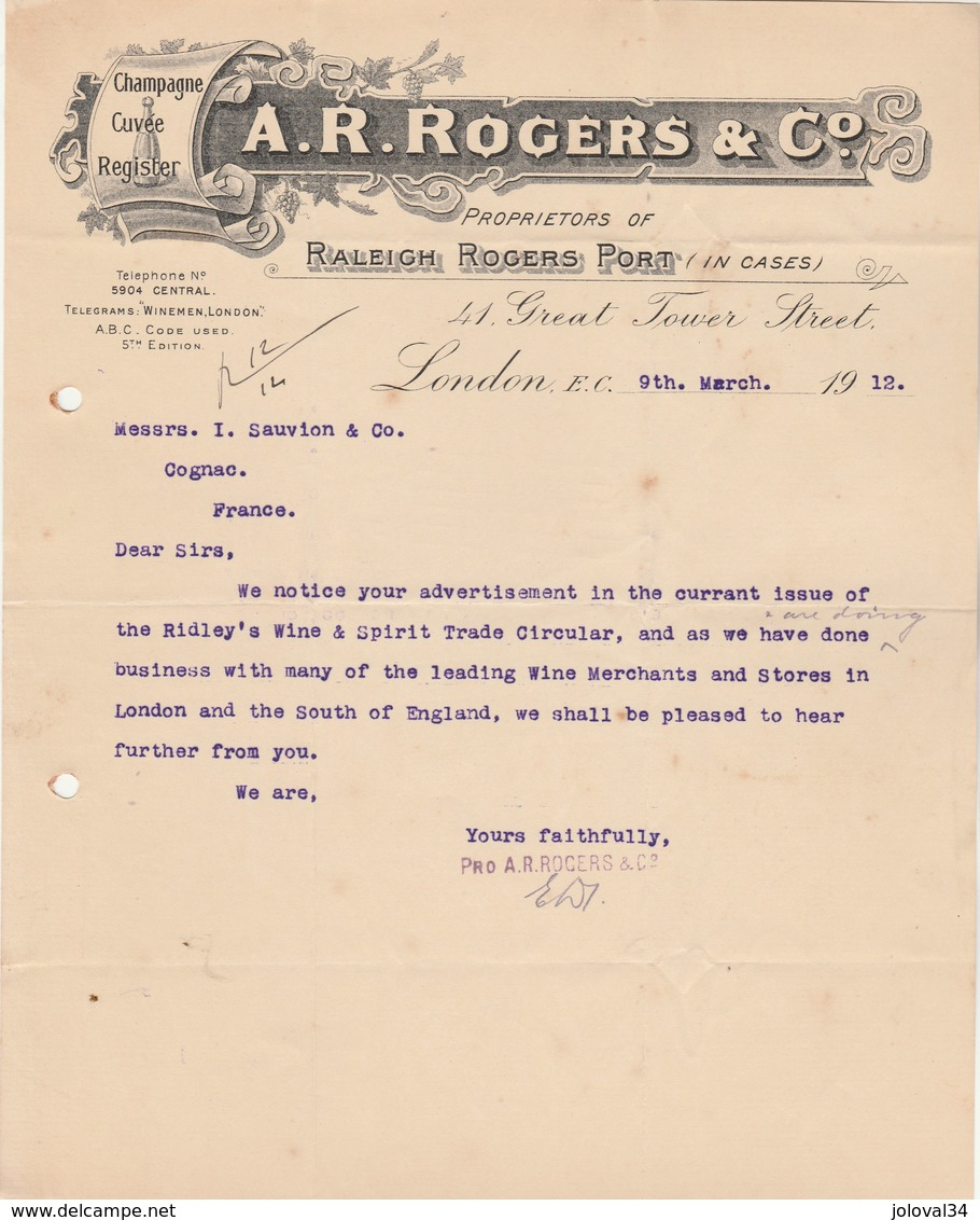 Royaume Uni Facture Lettre Illustrée 9/3/1912 A R ROGERS Proprietors Ol Raleigh Rogers Port - Champagne Cuvée  LONDON - Royaume-Uni