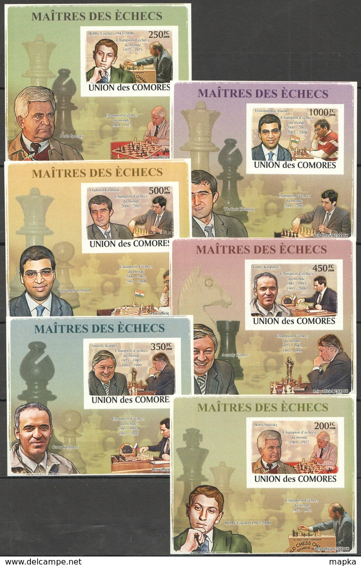AA285 IMPERF 2008 UNION DES COMORES SPORT CHESS MAITRES DES ECHECS 6 LUX BL MNH - Schaken