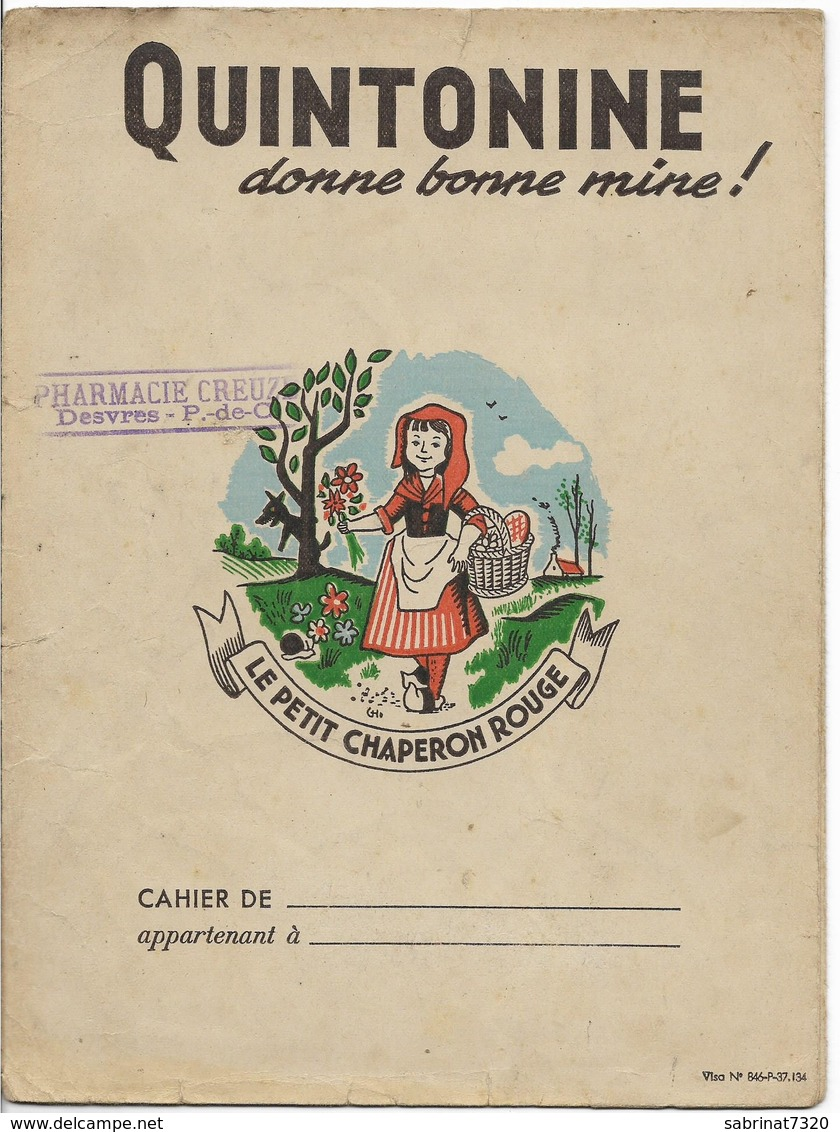 """Protège Cahier QUINTONINE , LE PETIT CHAPERON ROUGE : TAMPON """" PHARMACIE CREUZE à DESVRES """" - Protège-cahiers"""