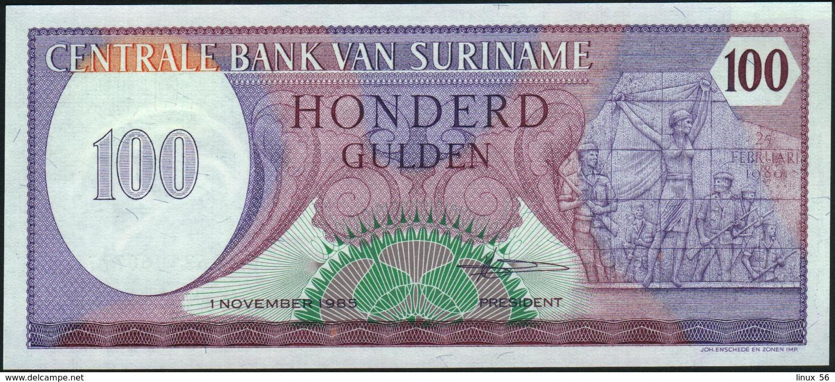 SURINAME - 100 Gulden 01.11.1985 UNC P.128 B - Surinam