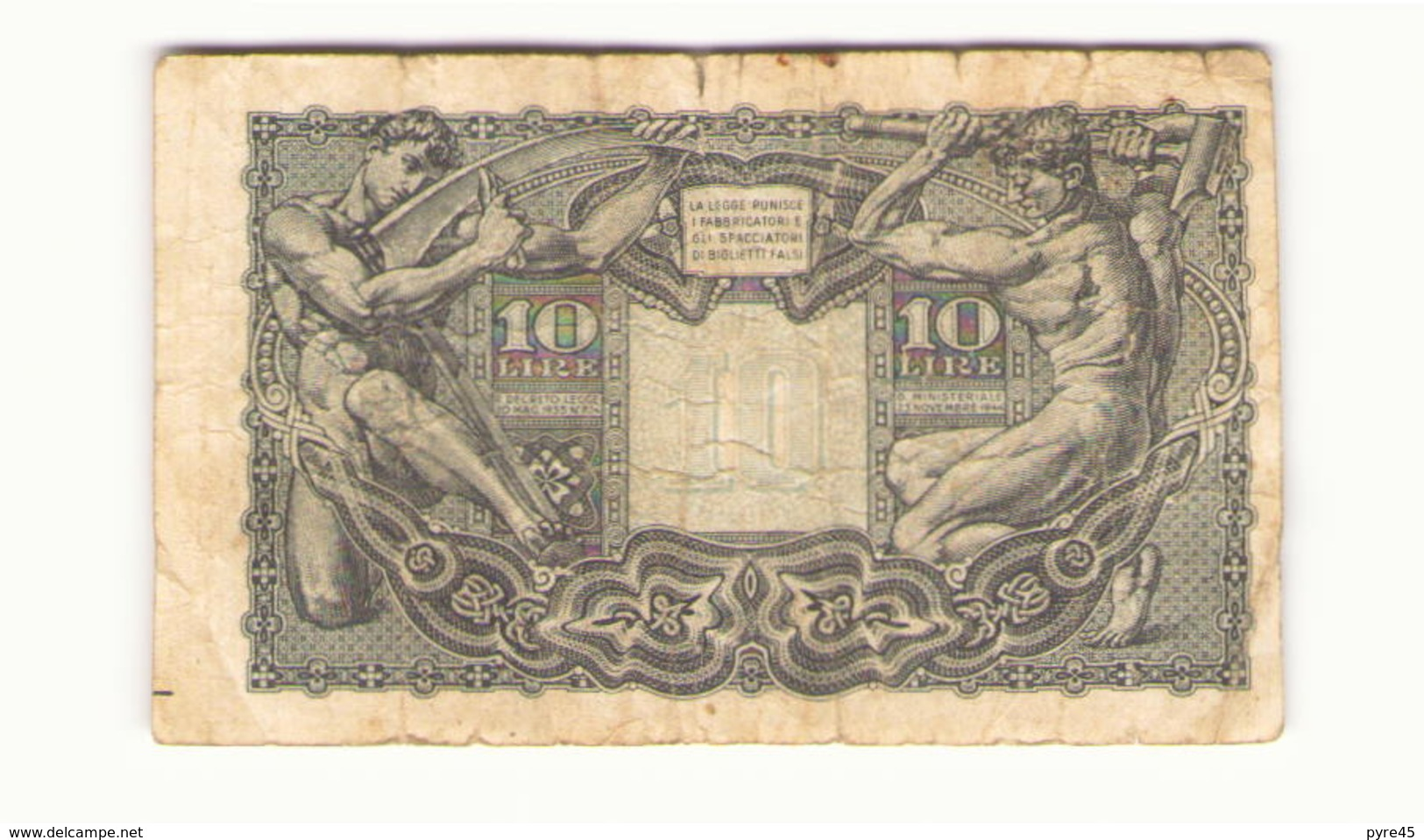 Italie Billet De 10 Lires - [ 1] …-1946 : Kingdom