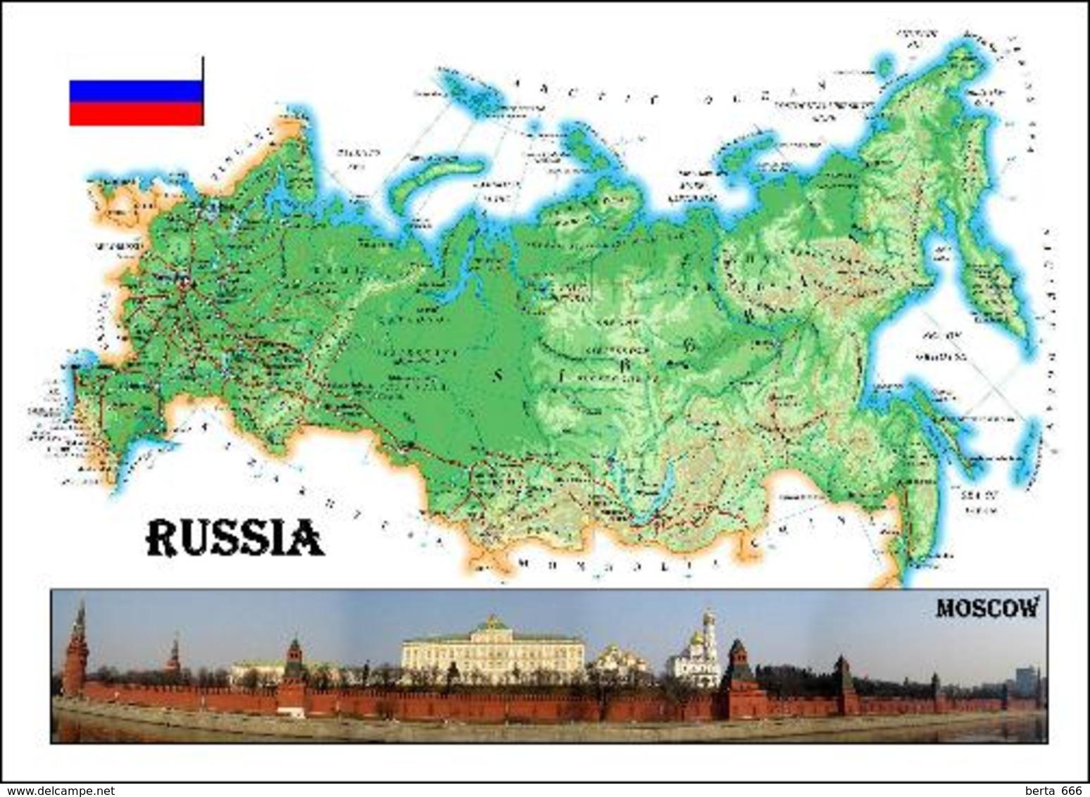 Russia Country Map New Postcard Russland Landkarte AK - Russia