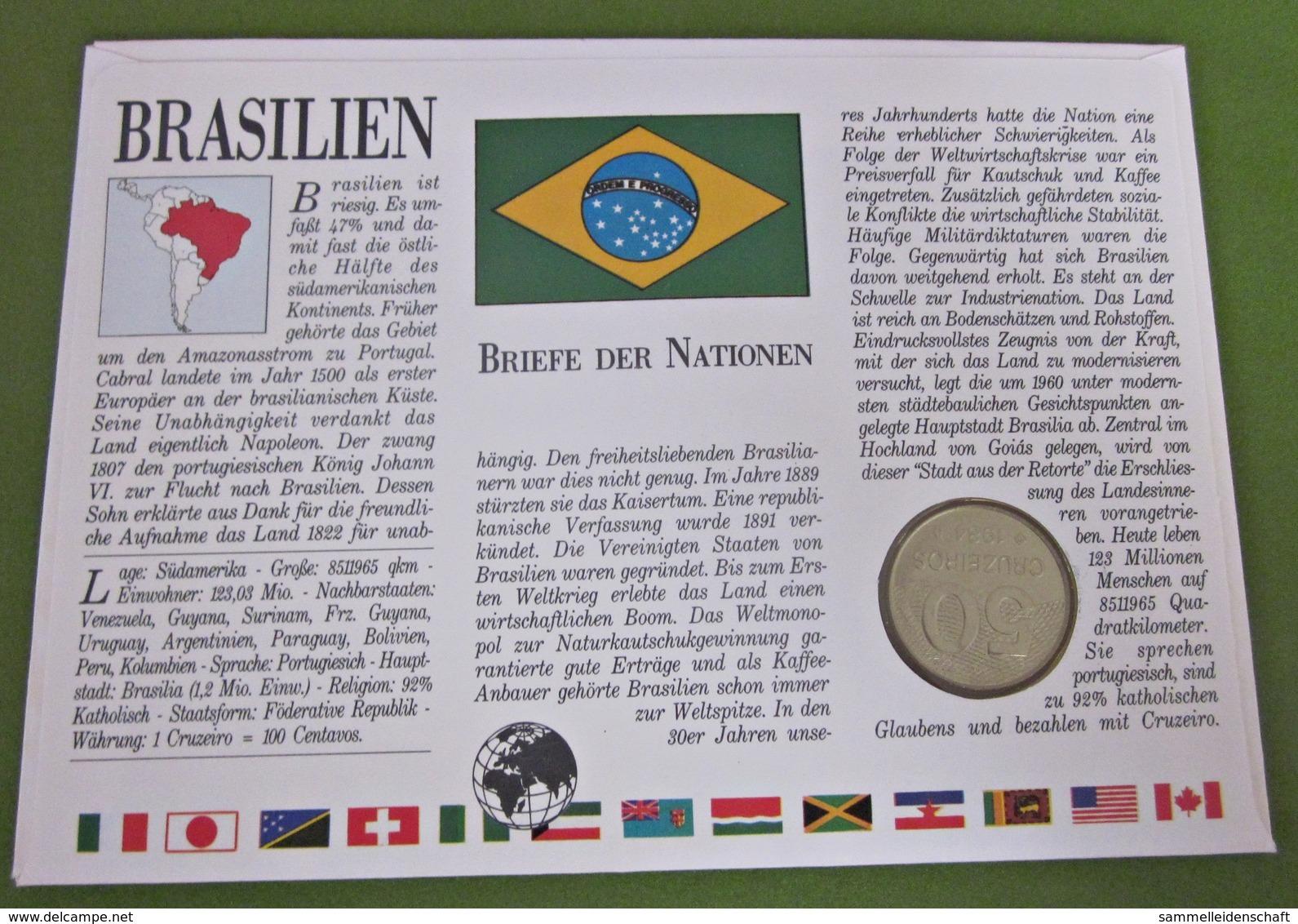 Numisbrief Brasilien Fußballstadion / Brasil 50 Cruzeiros Münze 1984 Briefmarke - Brasilien