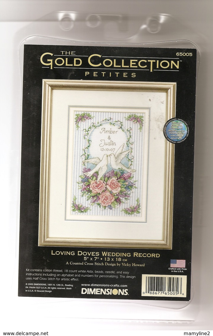 """Kit Points Comptés DIMENSIONS """" Loving Doves Wedding Record """" (Mariage) - Stickarbeiten"""
