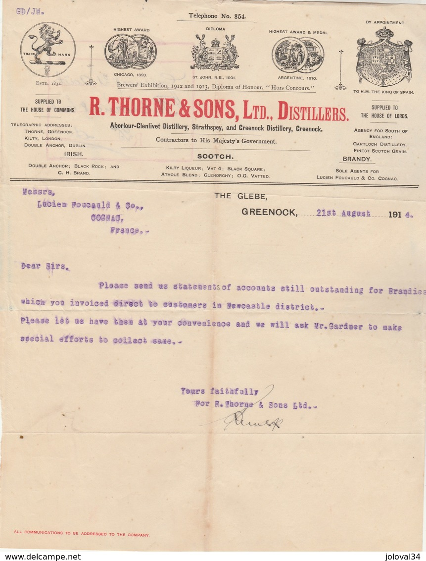 Royaume Uni Facture Lettre Illustrée 21/8/1914 R THORNE & Sons Distillers Irish Scotch Brandy GREENOCK - Royaume-Uni