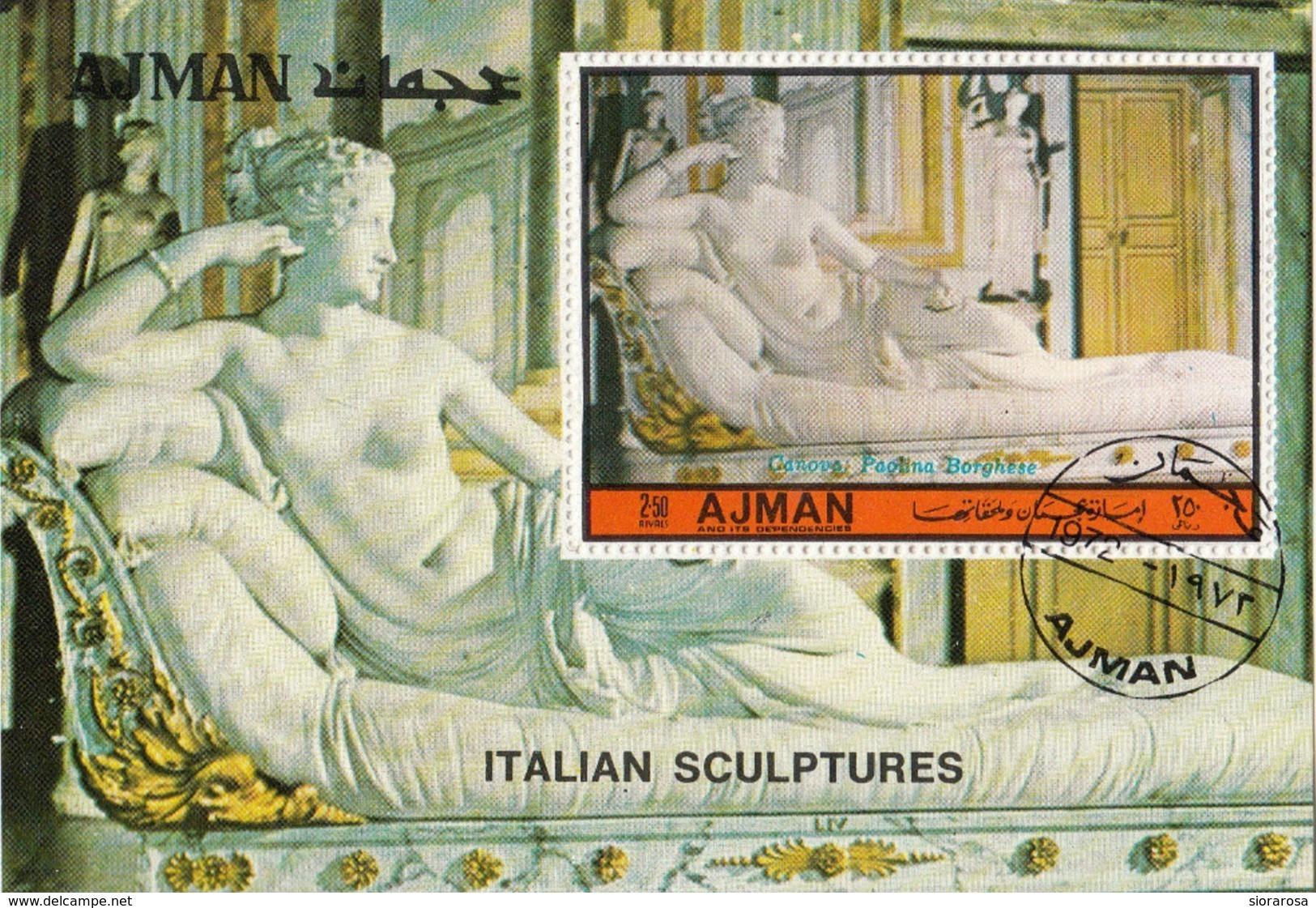 Ajman 1972 Paolina Borghese Come Venere - Scultura In Marmo Di Antonio Canova Sheet Perf. CTO - Ajman