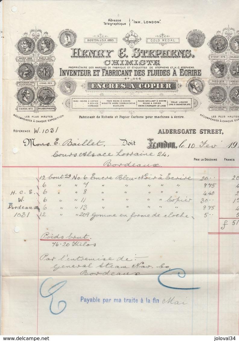 Royaume Uni Facture Illustrée 10/2/1916 Henry C STEPHENS Chimiste Encres à Copier LONDON - Royaume-Uni