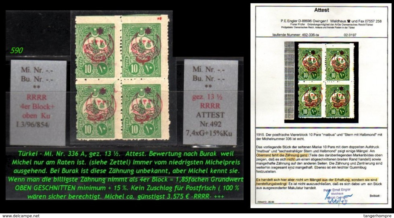 TURKEY ,EARLY OTTOMAN SPECIALIZED FOR SPECIALIST, SEE...Mi. Nr. 336 A - 4er Block Oben U !!! -RRR- Attest - - 1858-1921 Ottoman Empire