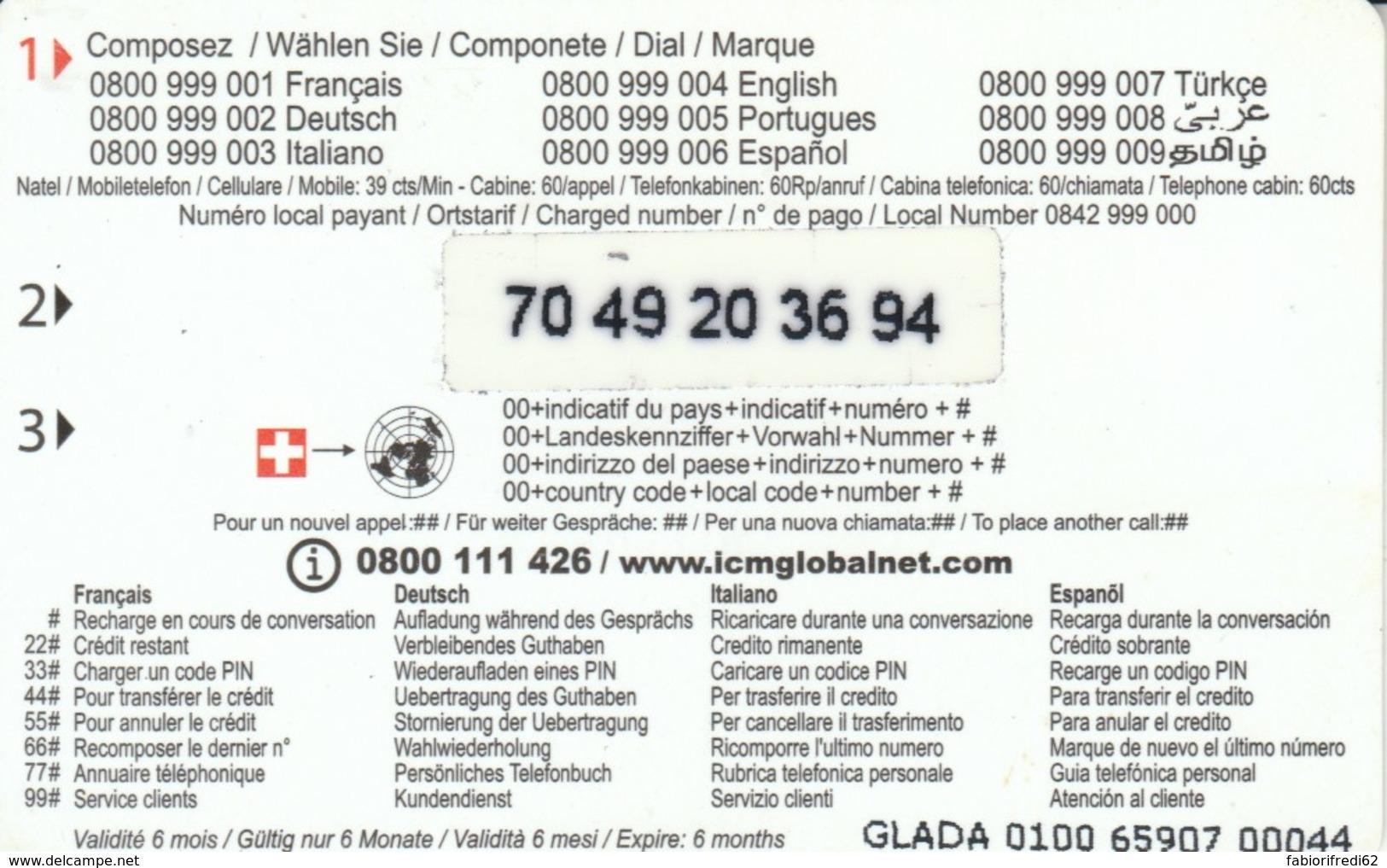 PREPAID PHONE CARD SVIZZERA  (PM2169 - Svizzera