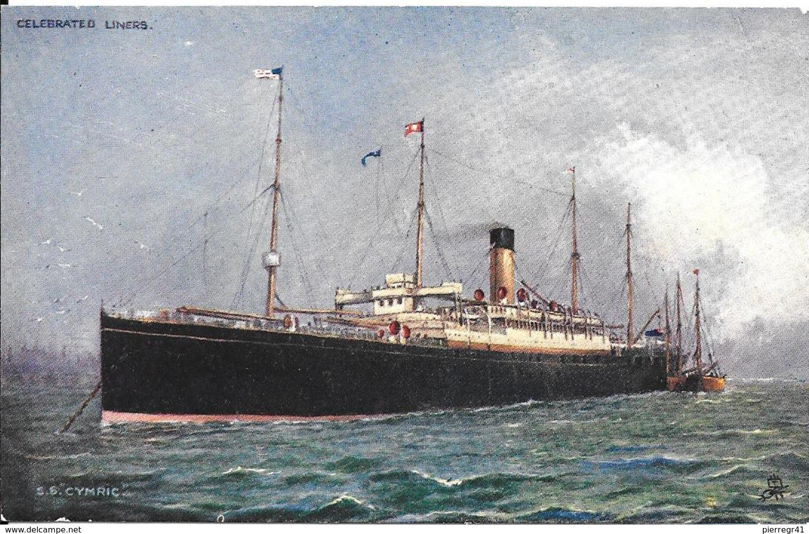 CPA- Vers 1900-PAQUEBOT-S.S CYMRIC-Cie WHITE STAR LINES-Torpillé En1916-TBE-RARE - Paquebots