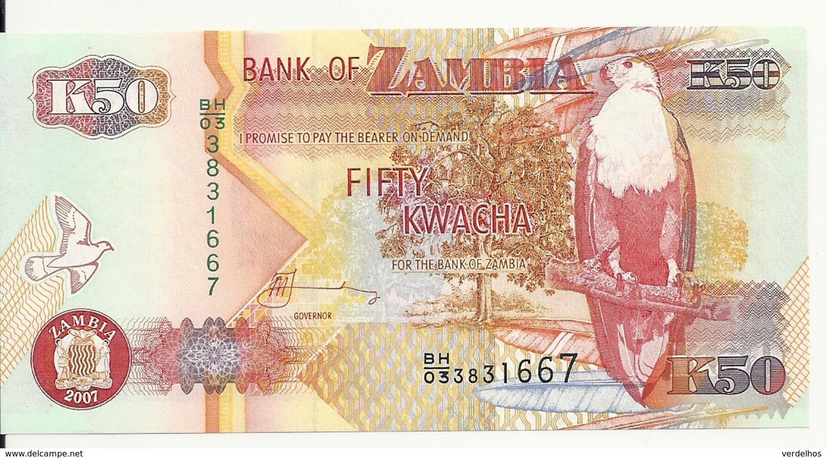 ZAMBIE 50 KWACHA 2007 UNC P 37 F - Zambie