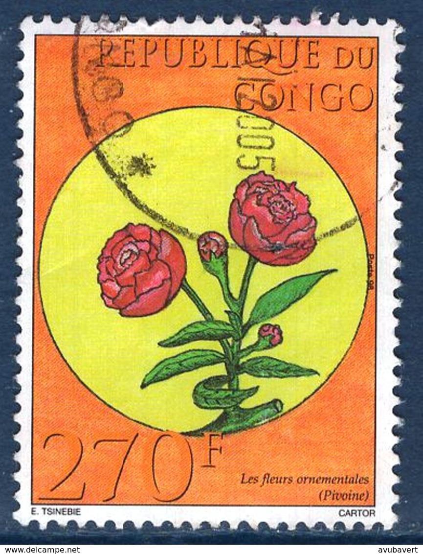 Congo, Timbre Oblitéré, 2003, Fleurs Ornementales, Pivoine - Congo - Brazzaville