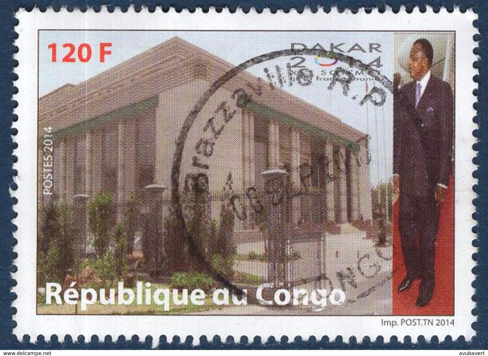 Congo, Timbres Oblitérés, 2014, XV ème Sommet De La Francophonie, Valeur Faciale 120 F - Congo - Brazzaville