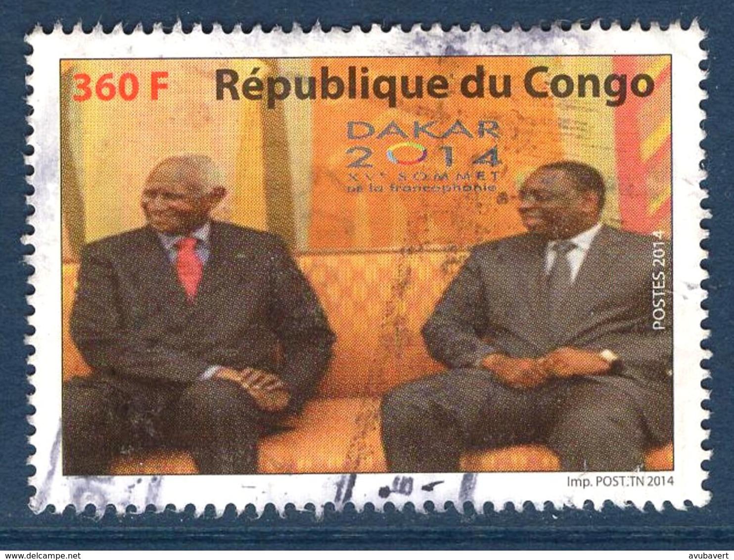 Congo, Timbres Oblitérés, 2014, XV ème Sommet De La Francophonie, Valeur Faciale 360F - Congo - Brazzaville