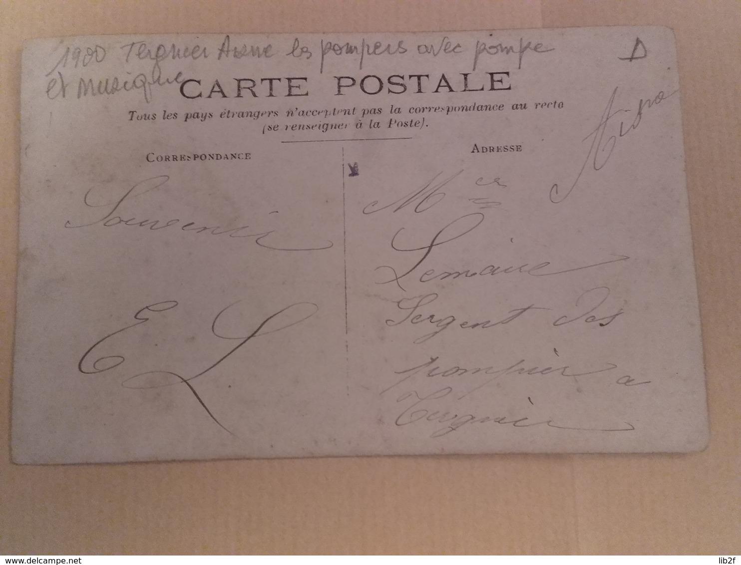 1900 Tergnier Aisne Sapeurs Pompiers Avec Leur Pompe échelles Incendie Feu Secours - War, Military