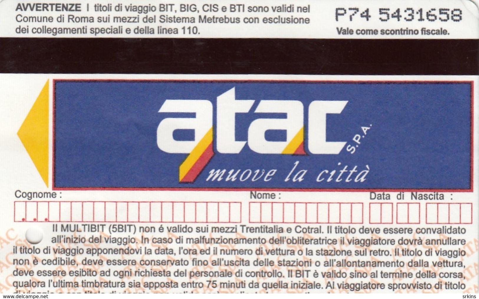 Bus Ticket 2005. Rome Italy Roma Italia - Busse