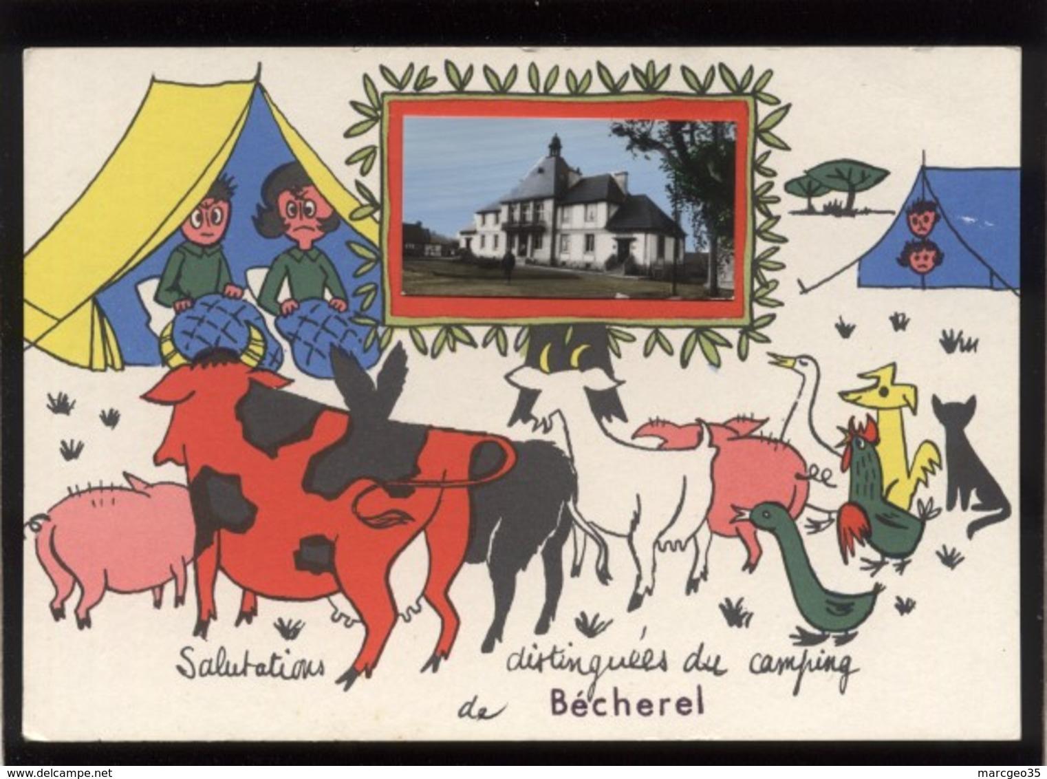 35 Bécherel Salutations Distinguées Du Camping De Bécherel Mini-vue Mairie édit. JP Silhouette De Chat Noir Vache Cochon - Bécherel