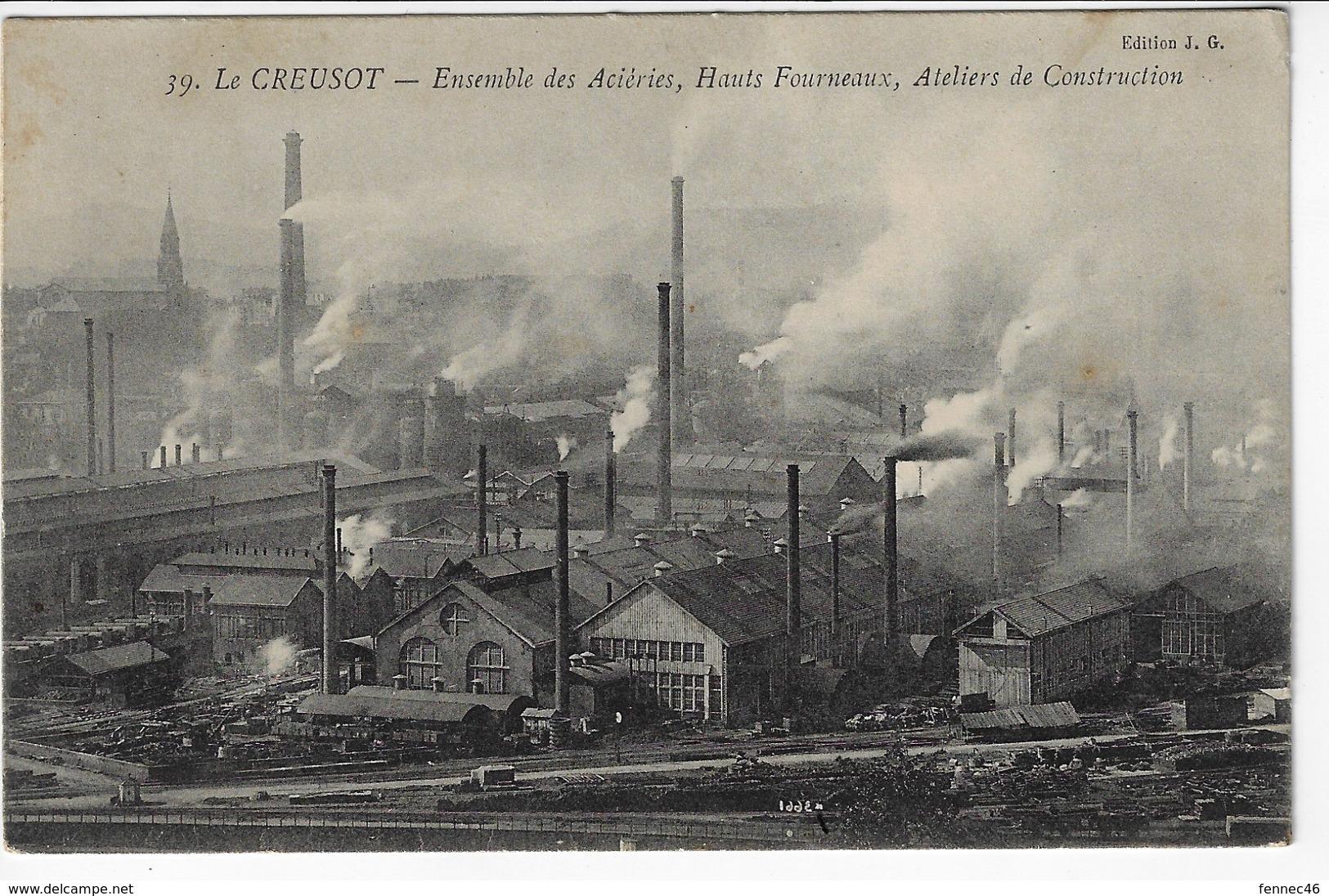 71 - LE CREUSOT - Ensemble Des Acieries, Hauts Fourneaux, Ateliers De Construction - 1909 (W125) - Le Creusot
