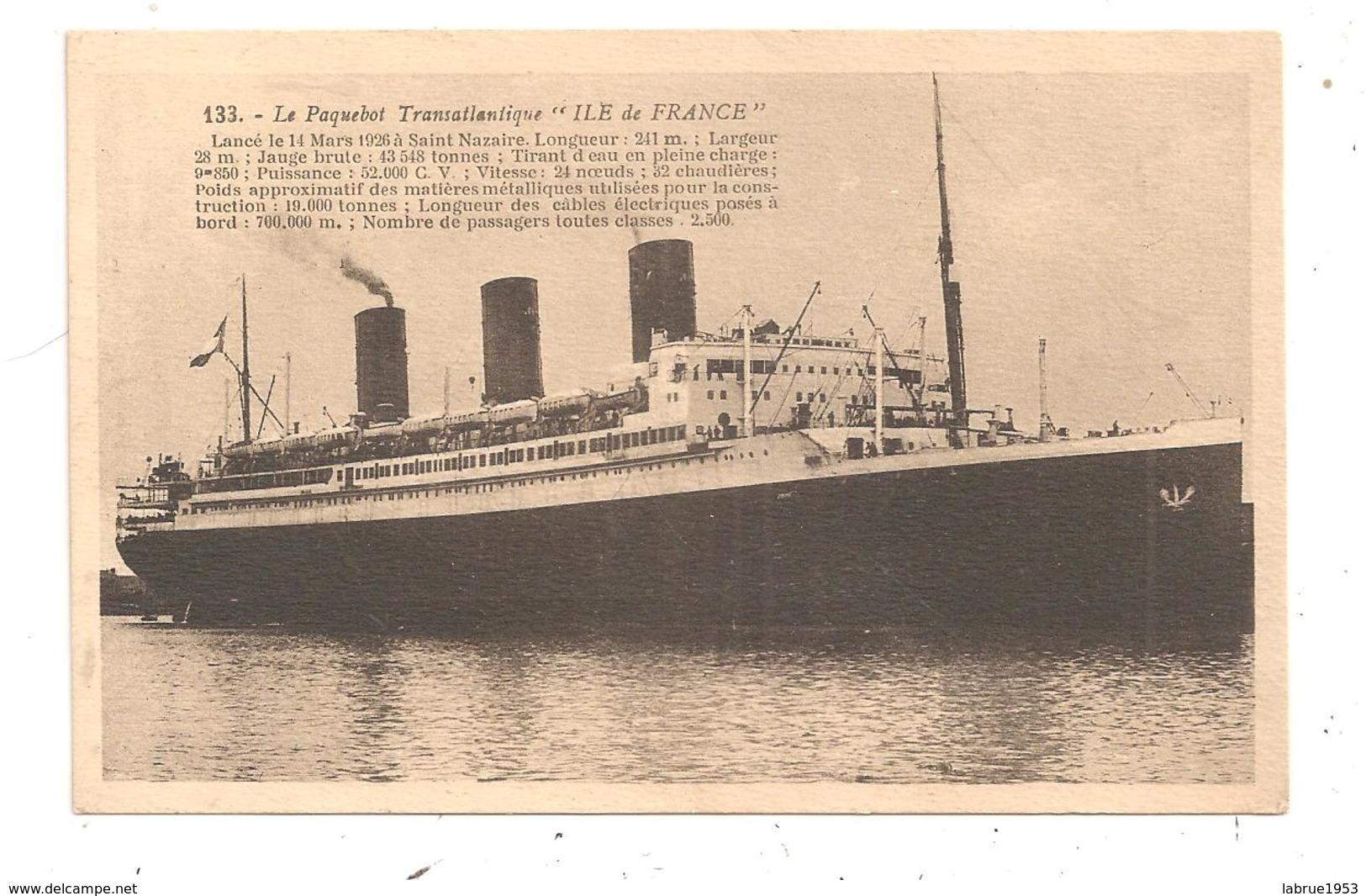 """Le Paquebot Transatlantique """"Ile De France""""(D.9) - Commerce"""