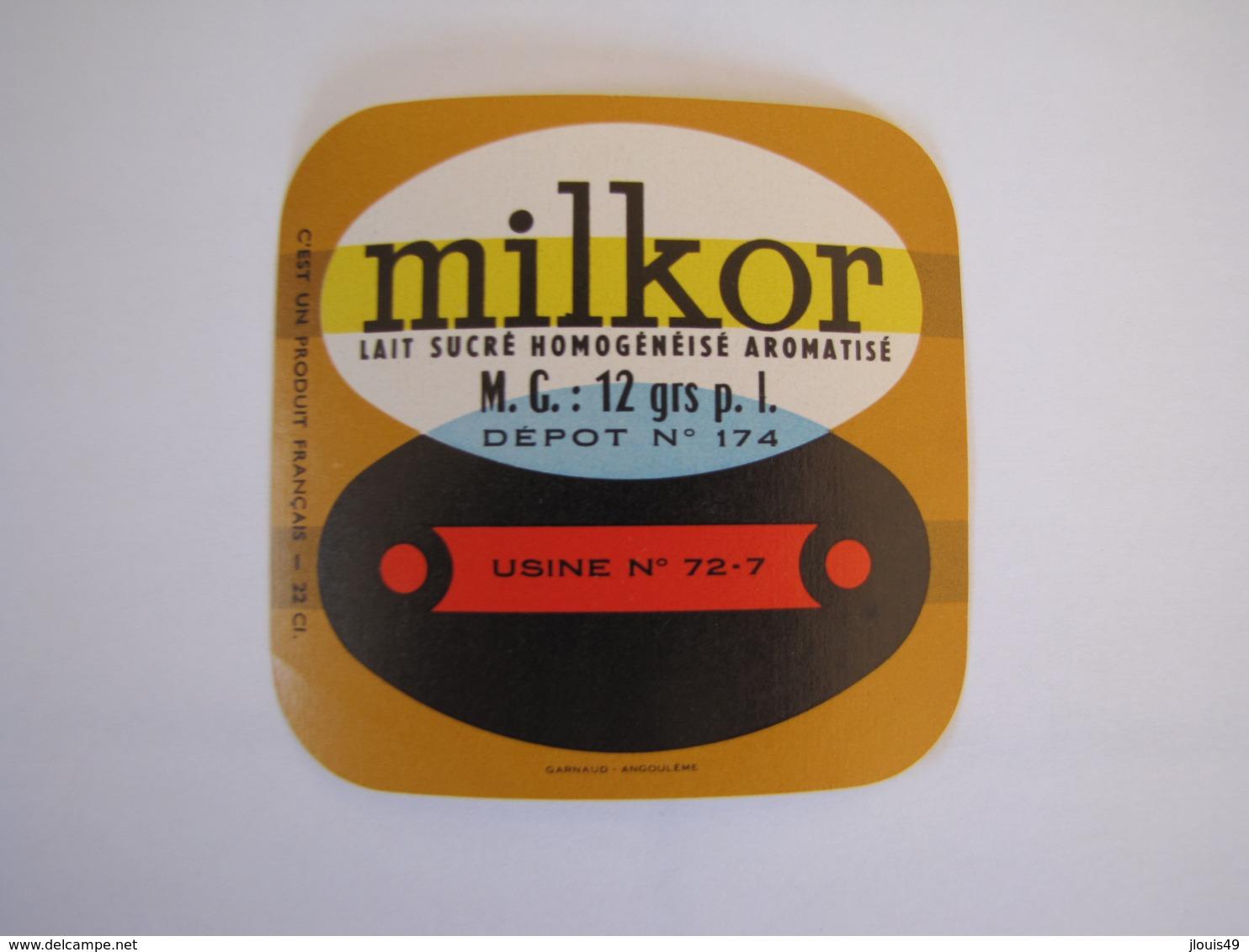 Etiquette De Lait MILKOR Fabriqué Dans La SARTHE 12% - Other