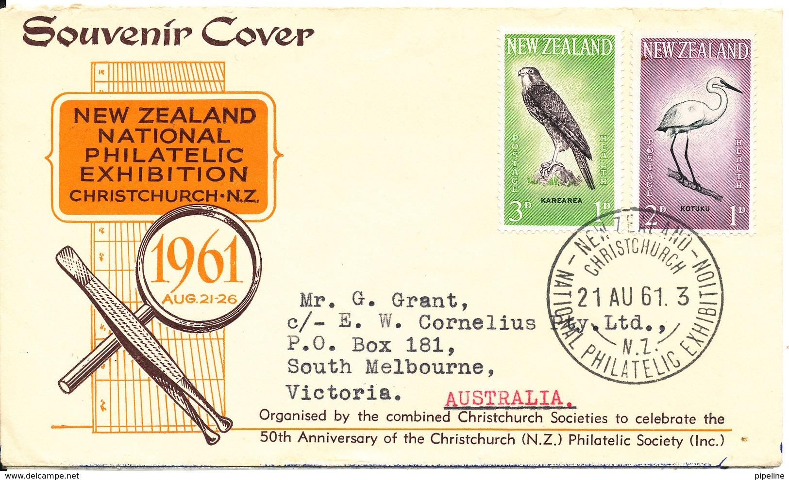 New Zealand Souvenier Cover 21-8-1961 National Philatelic Exhibition Christchurch  BIRD Stamps - Nouvelle-Zélande