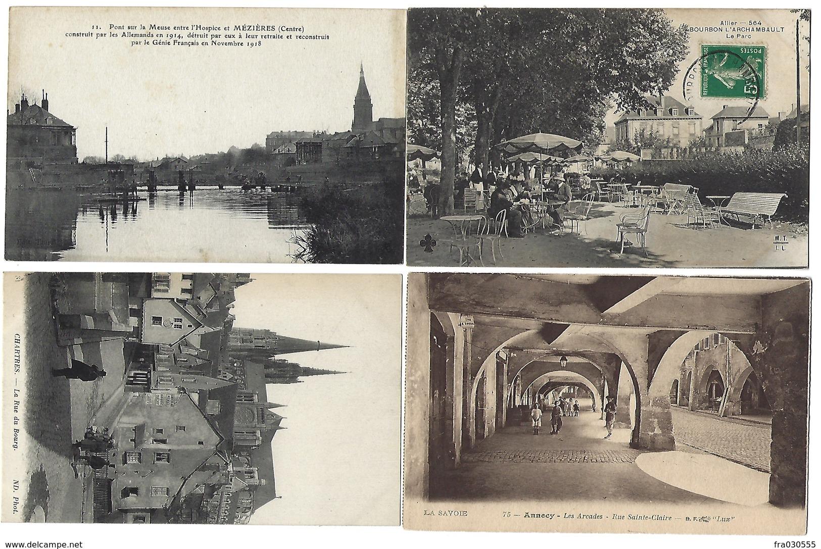 FRANCE - Lot De 43 CPA - 100 % ANIMÉES - Pas De Paris, Nice, Lourdes - Cartes Postales