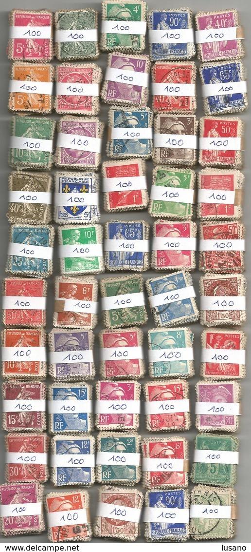 France - 5000 Timbres Petit Format (50 Bottes De 100) Pour étude Variétés Et Oblitérations - Timbres