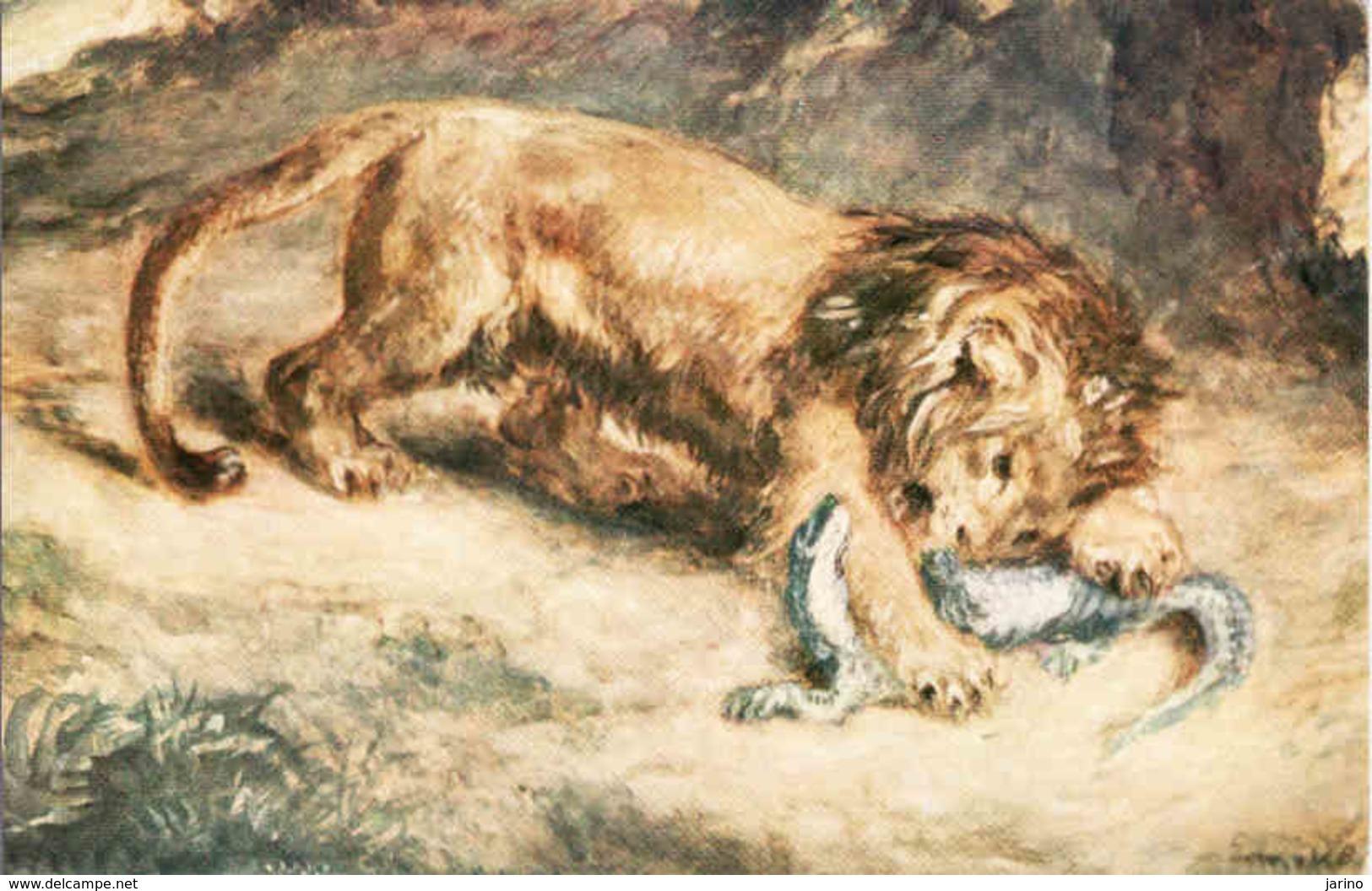 Lion Et Caiman, Musee Du Louvre Eugene Delacroix, Löwe, Leon Unused - Lions