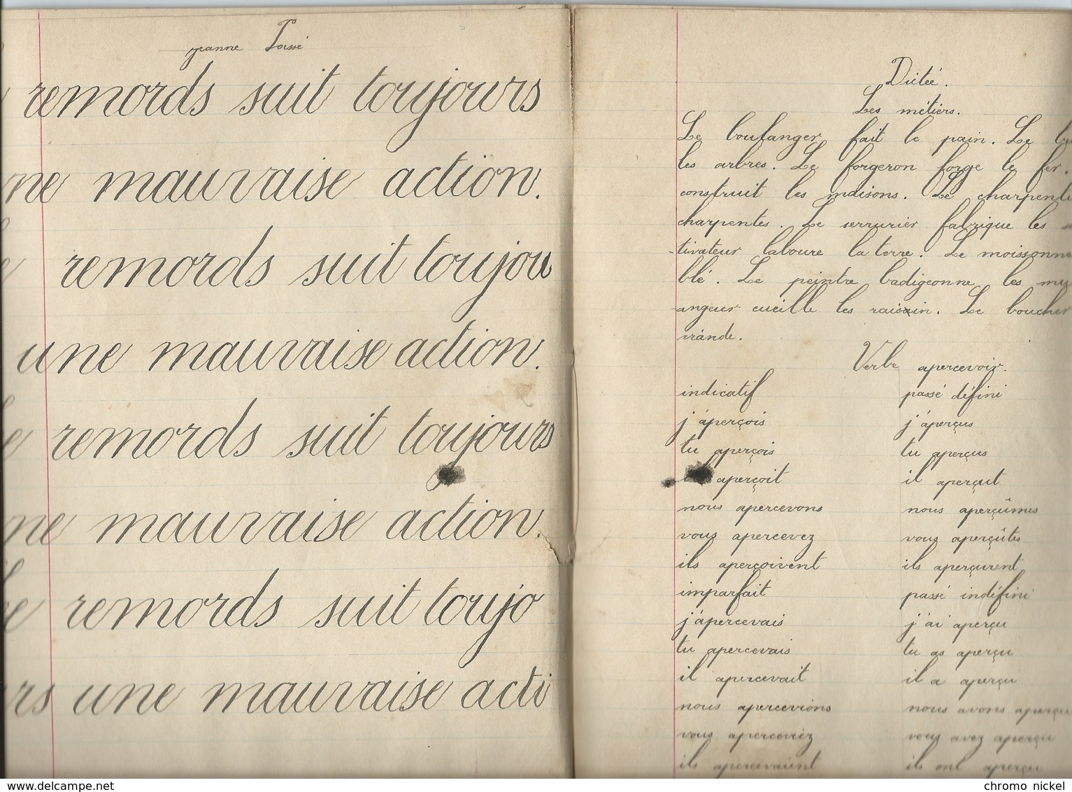 La PERDRIX Cahier Complet Couverture Protège-cahier +/- 1900 3 Scans - Protège-cahiers