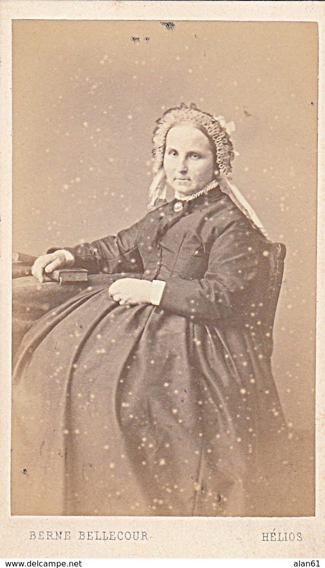 PHOTO CDV ADELE BOISSE FEMME CHIC COIFFE  MODE SECOND EMPIRE  Cabinet HELIOS BERNE BELLECOUR  A PARIS - Ancianas (antes De 1900)