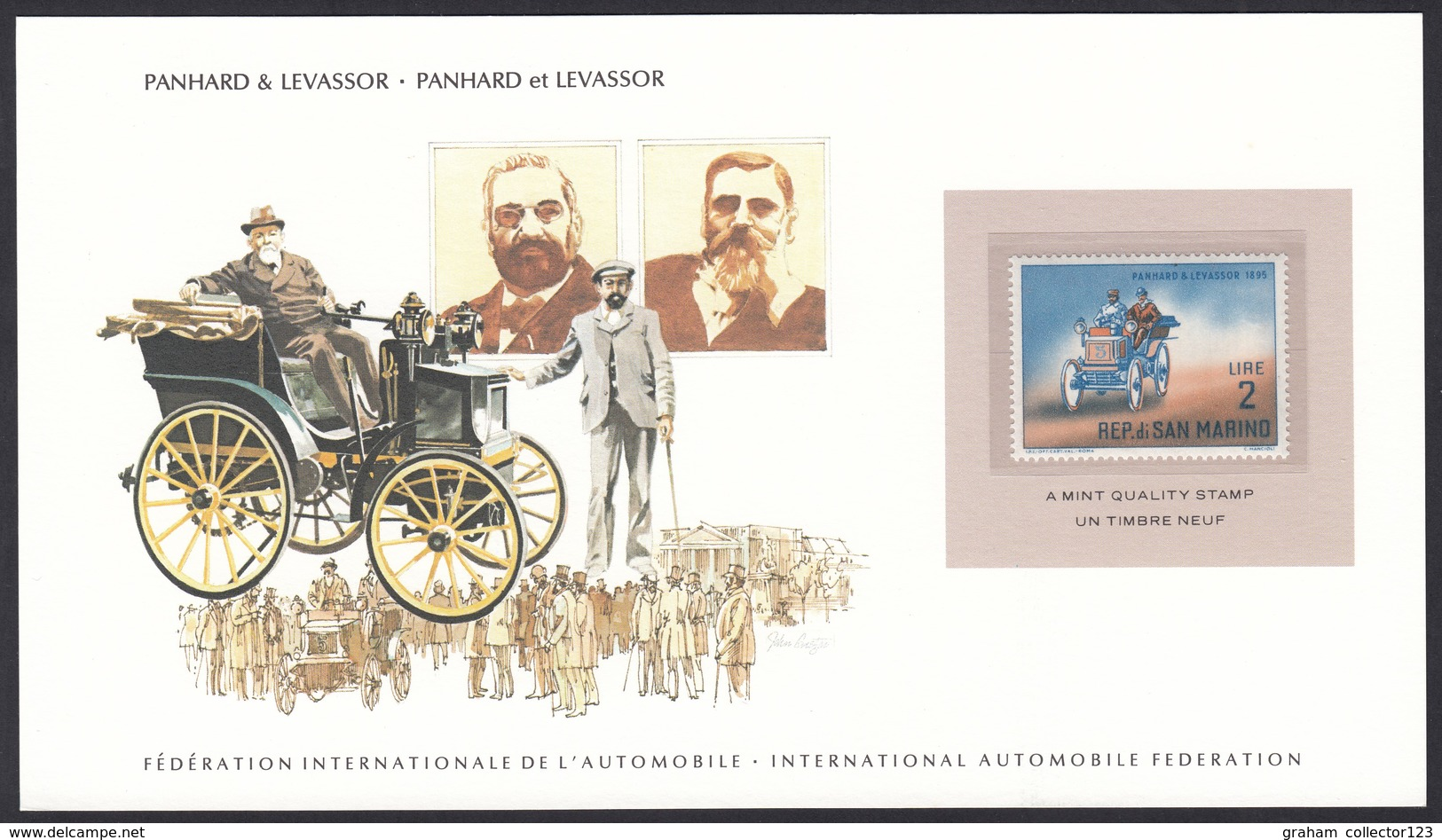 International Automobile Federation San Marino Panhard & Levassor Vintage Automobile Stamp Card - Cars