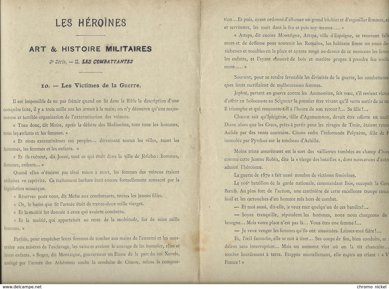Les Héroïnes Militaires Victimes Et Vengeresses Protège-cahier Couverture TB 225 X 170  3 Scans Geisler - Protège-cahiers