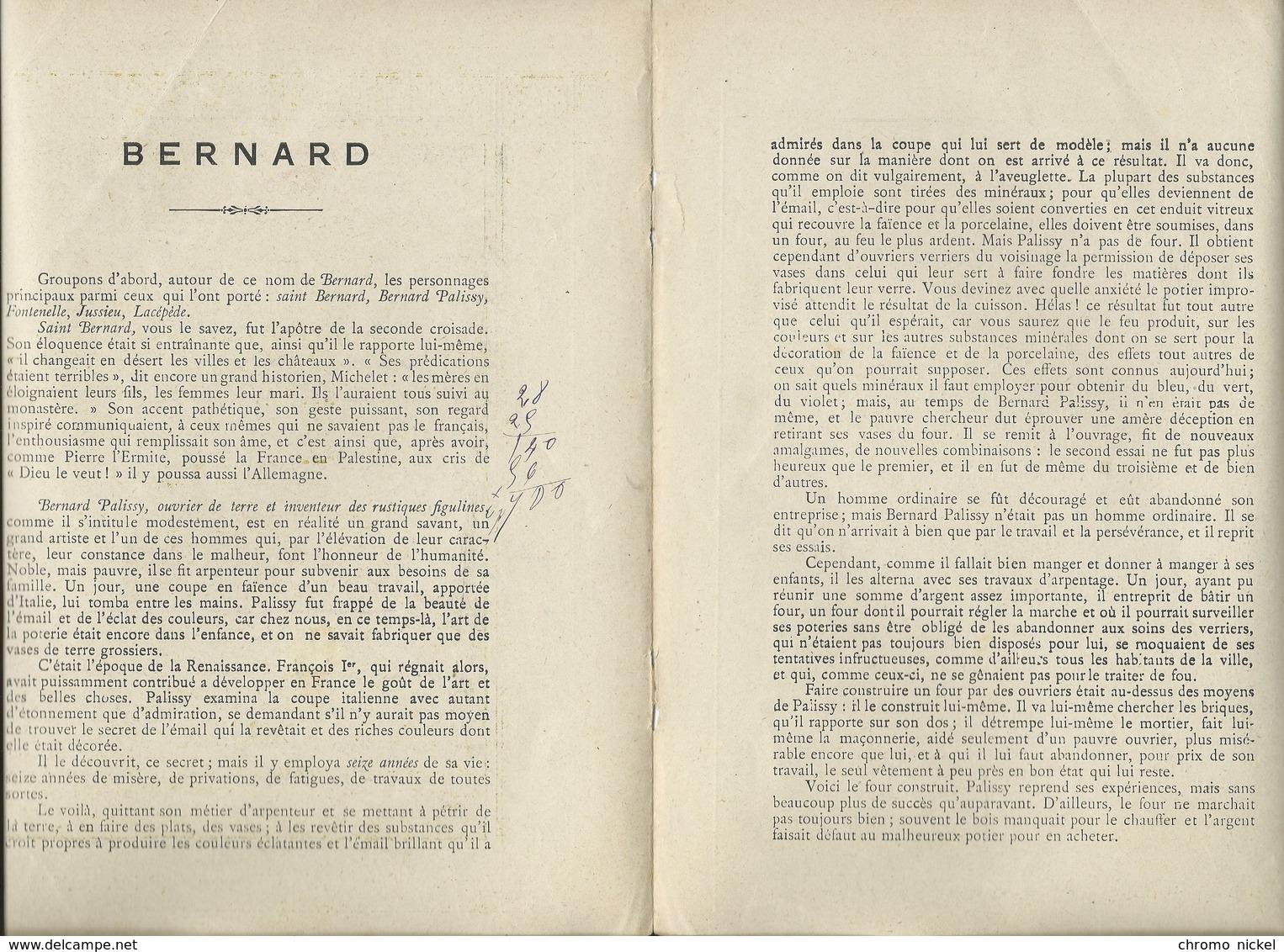 BERNARD Palissy Les Noms De Nos Fils Bien Protège-cahier Couverture   225 X 170  3 Scans  Châtelles - Protège-cahiers