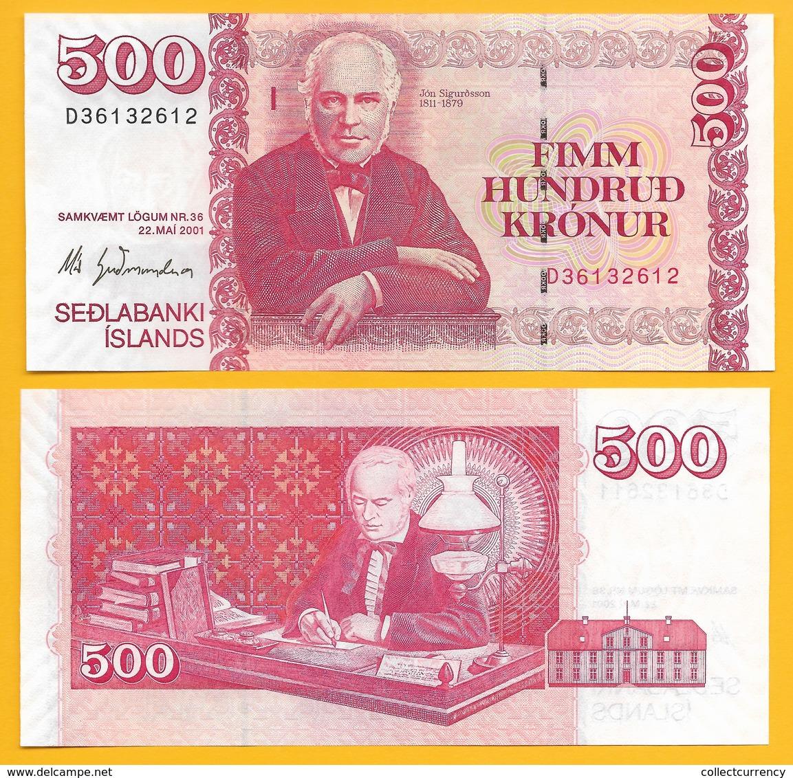 Iceland 500 Kronur P-58a(1) 2001 Sign. Már Guðmundsson UNC Banknote - Iceland