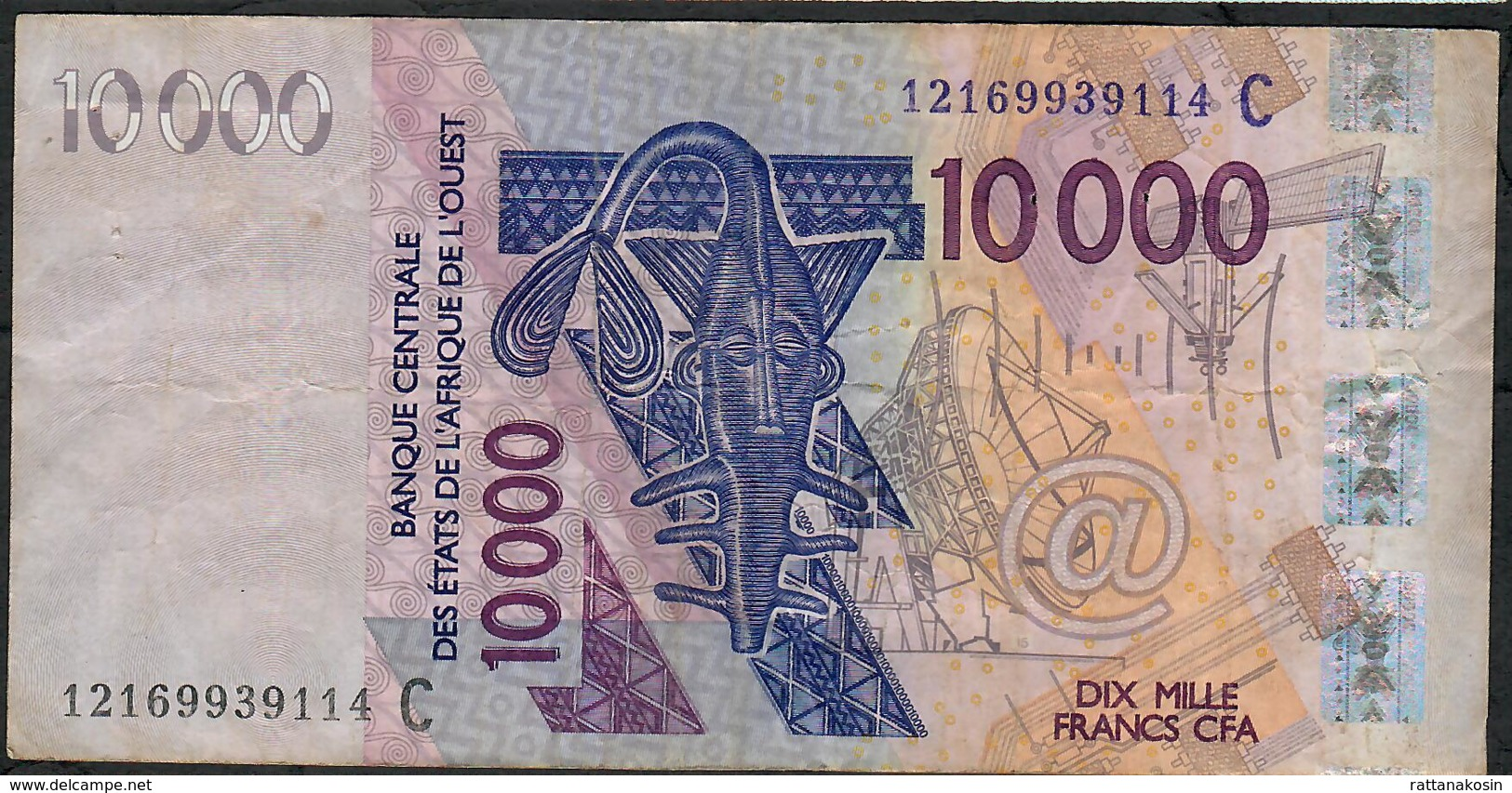 W.A.S. BURKINA FASO P318Cl 10.000 FRANCS (20)12 VF 2 P.h. - Burkina Faso