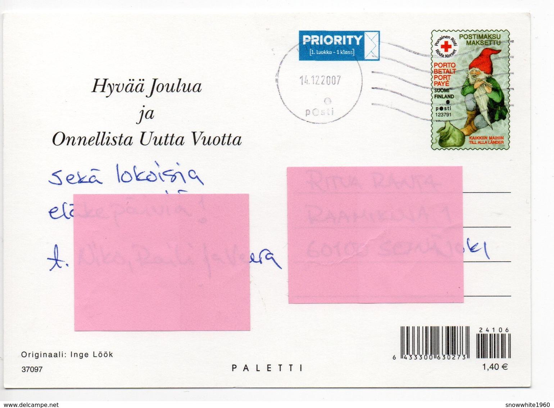 Postal Stationery RED CROSS  Finland - CHRISTMAS POSTCARD - Artist: INGE LÖÖK - GNOME & BIRDS - Postage Paid - Entiers Postaux