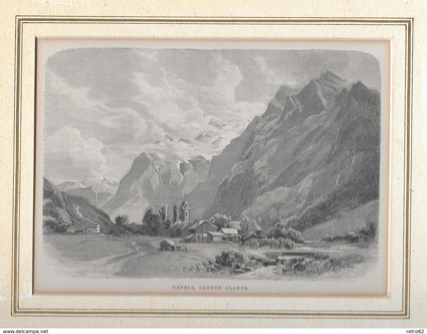 1883 NAEFELS, CANTON GLARUS → Holzstich 167 X 115 Mm - Stiche & Gravuren