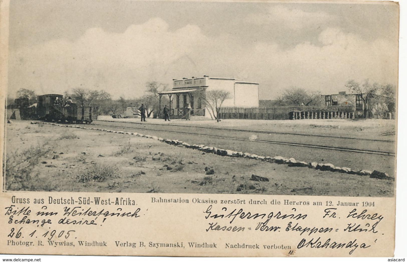 Deutsch Sudwest Afrika Gruss Bahnstation Okahandja Herero War Jan. 12 1904 Train Wywias Szymanski Windhuk - Namibie