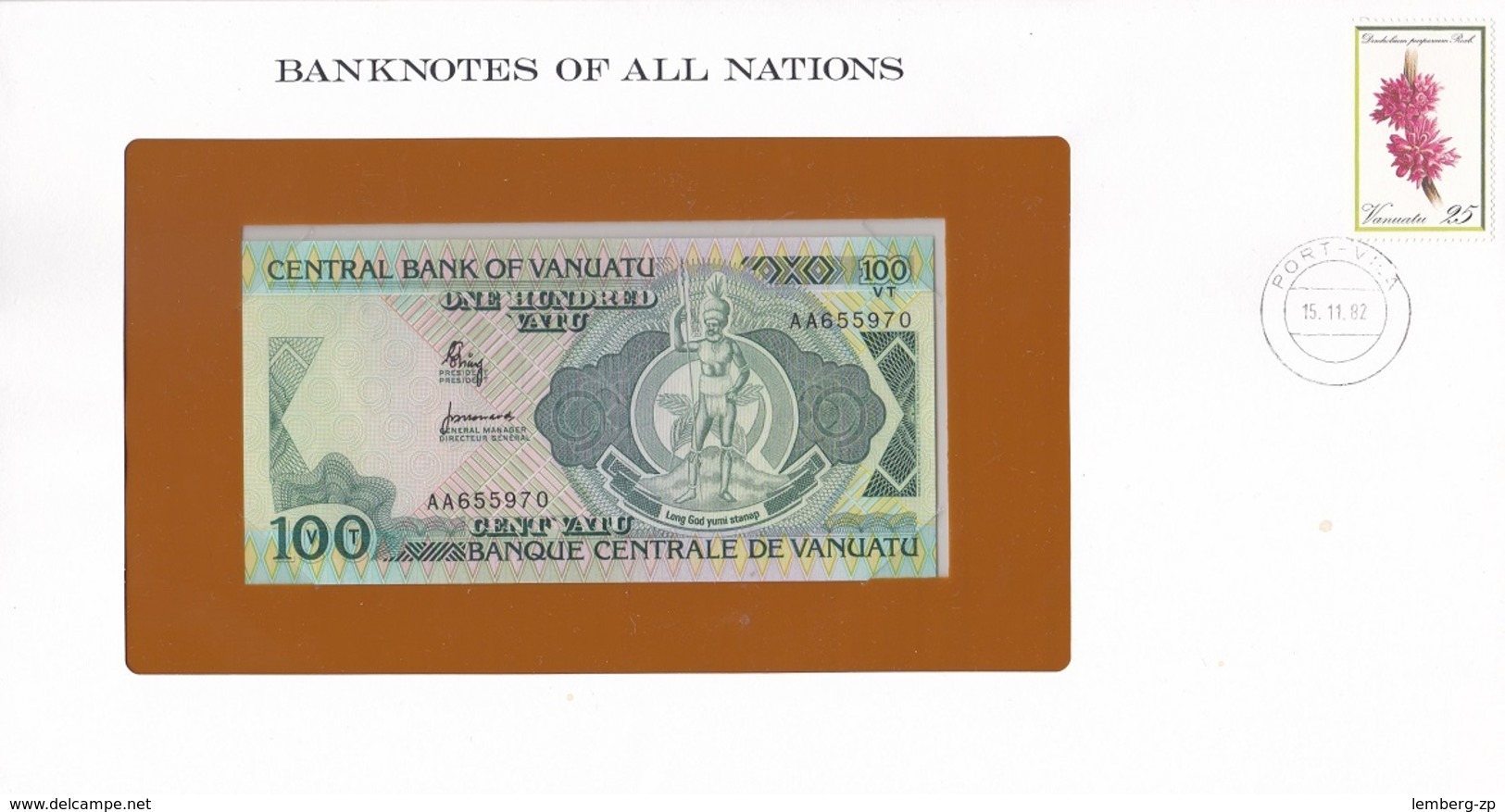 Vanuatu - 100 Vatu 1982 UNC P. 1 Serie AA Banknotes Of All Nations Lemberg-Zp - Vanuatu