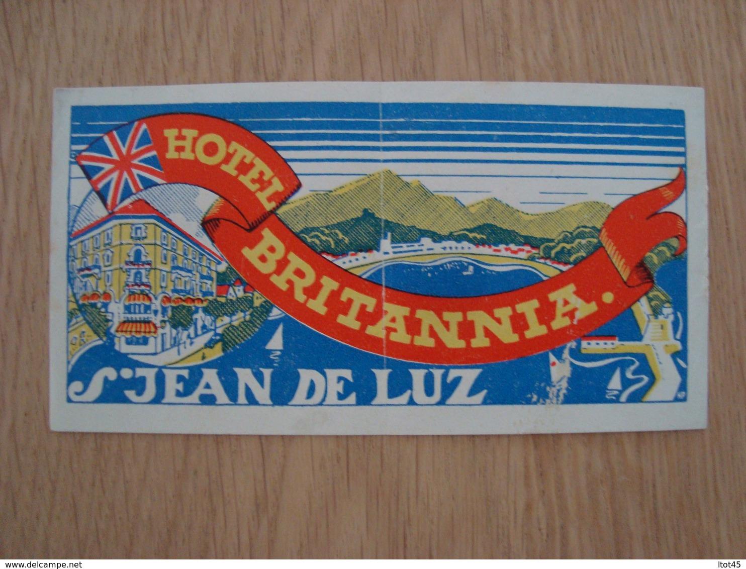ETIQUETTE D'HOTEL BRITANNIA SAINT JEAN DE LUZ - Etiquettes D'hotels