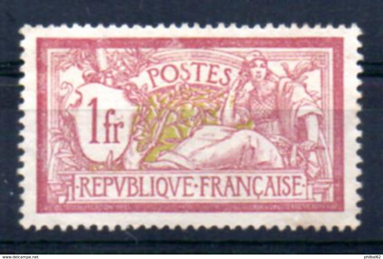 France N° 121, Type Merson, 1f. Lie De Vin, Neuf Sans Gomme. - France