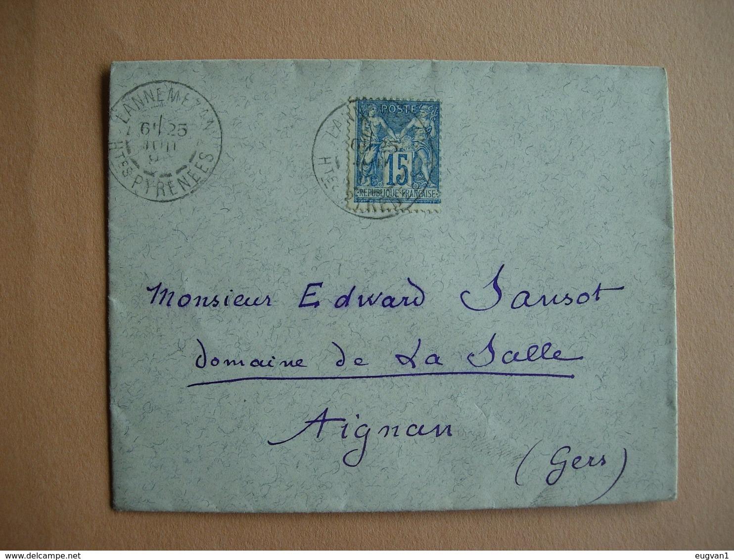 France. 90 15 Cts Bleu. Cachet De Lannemazon Vers Aignan Le 25.6.... - 1876-1878 Sage (Type I)