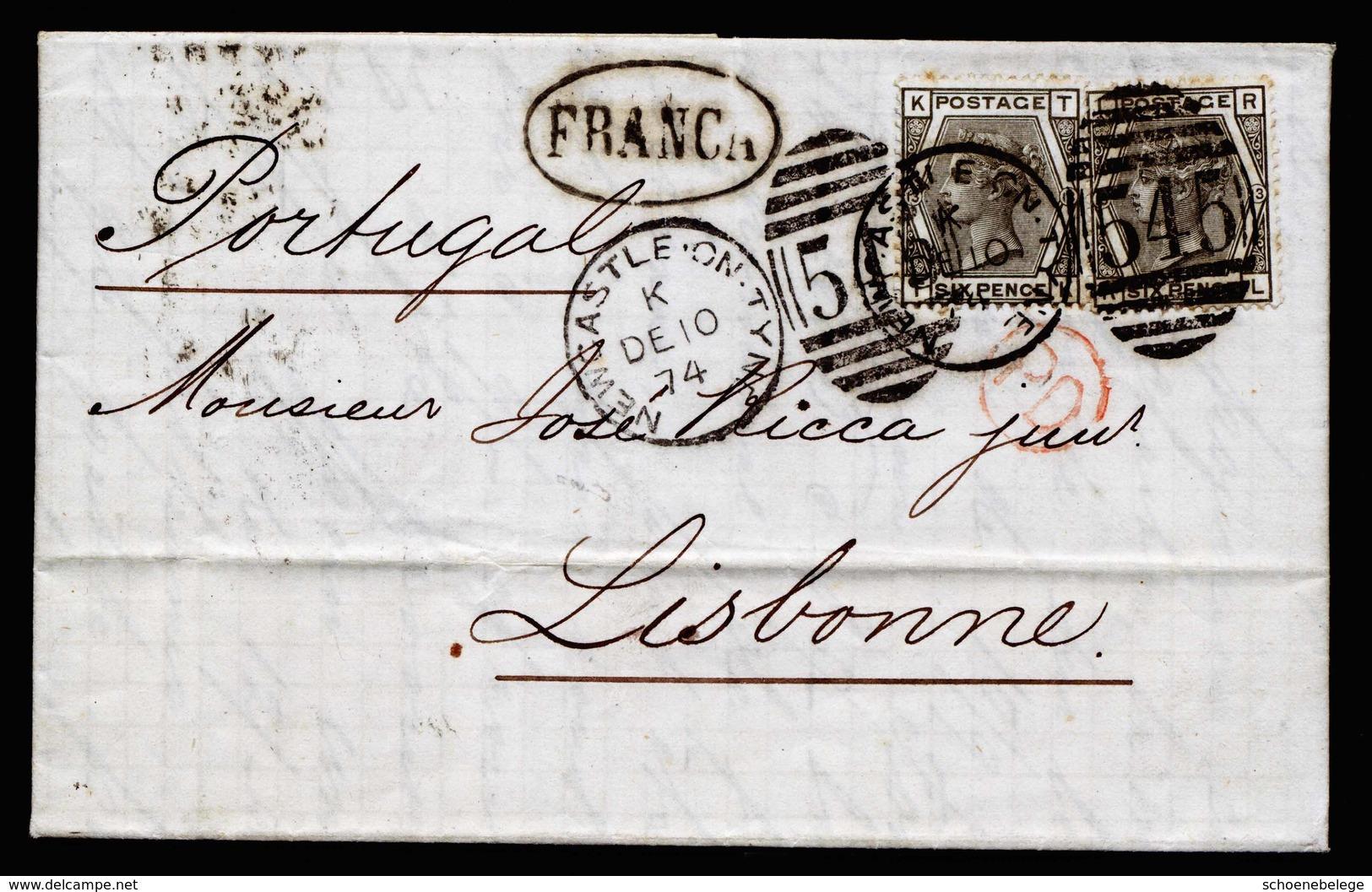 A5960) UK Cover Newcastle 12/10/74 With Mi.44 (2) To Portugal - 1840-1901 (Viktoria)