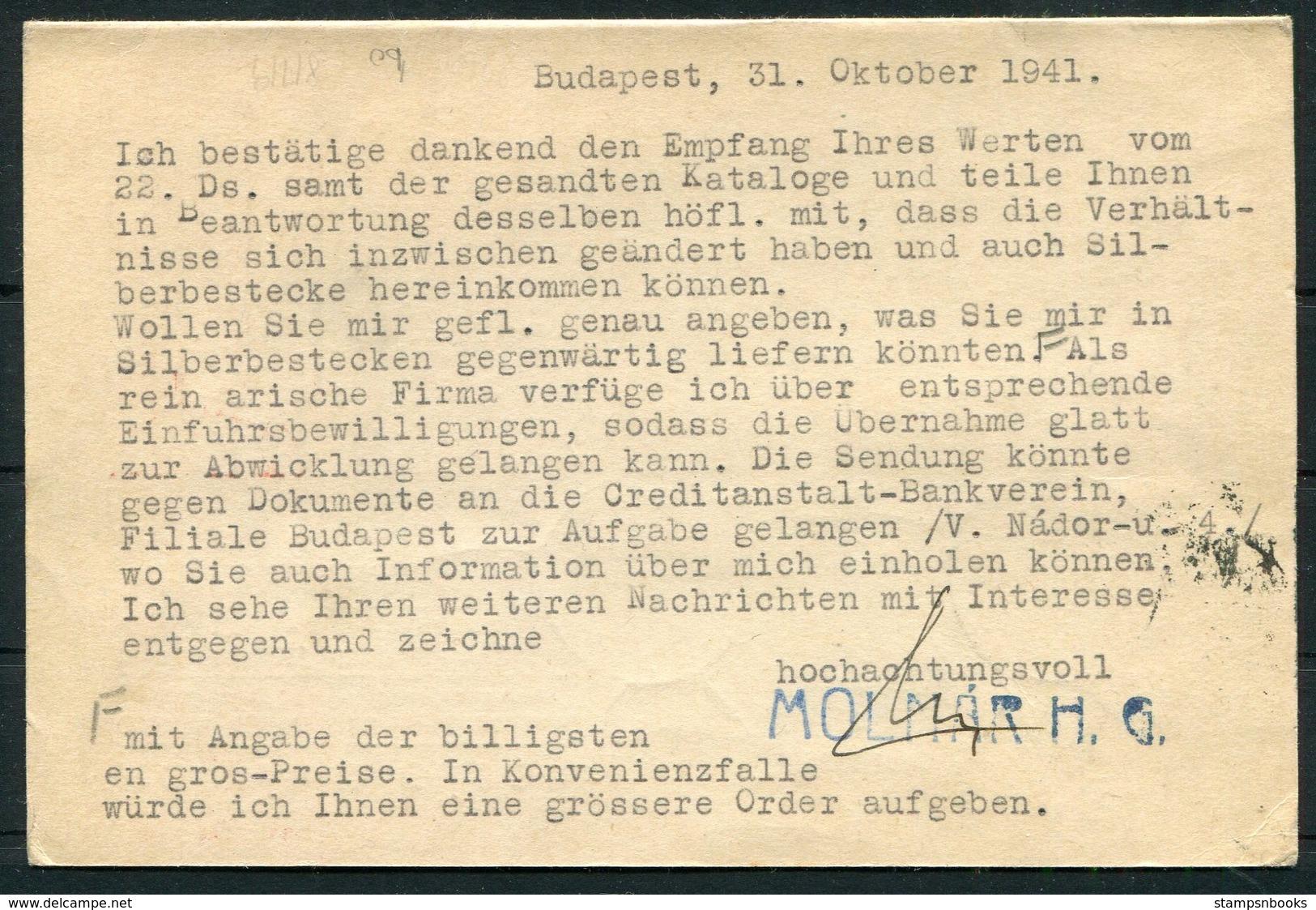 1941 Hungary Budapest HG Molnarh Jewelery Typewriter Postcard - Heilbronn Germany. Censor, Victory V - Briefe U. Dokumente
