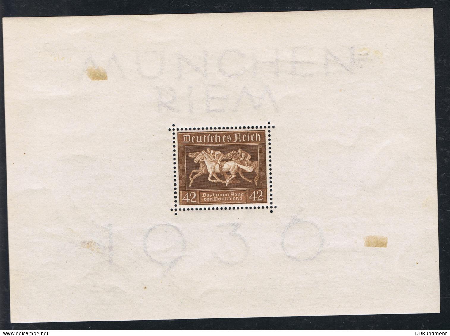1936 22. Juni Galopprennen Mi DR BL4X  Sn DE B90  Yt DR BF6  Sg DR MS618 Mit Gummierung Und Falz - Blocks & Kleinbögen