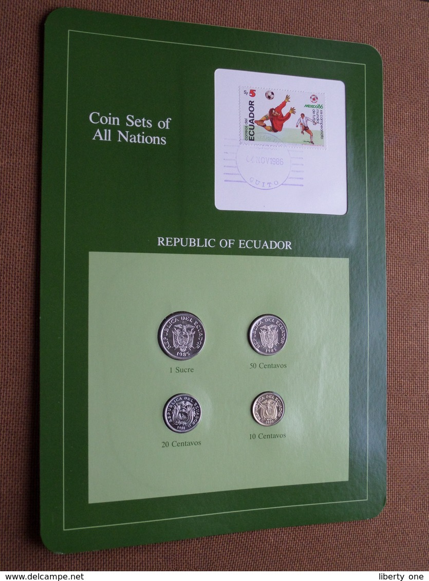 REPUBLIC OF ECUADOR ( From The Serie Coin Sets Of All Nations ) Card 20,5 X 29,5 Cm. ) + Stamp '86 - Equateur